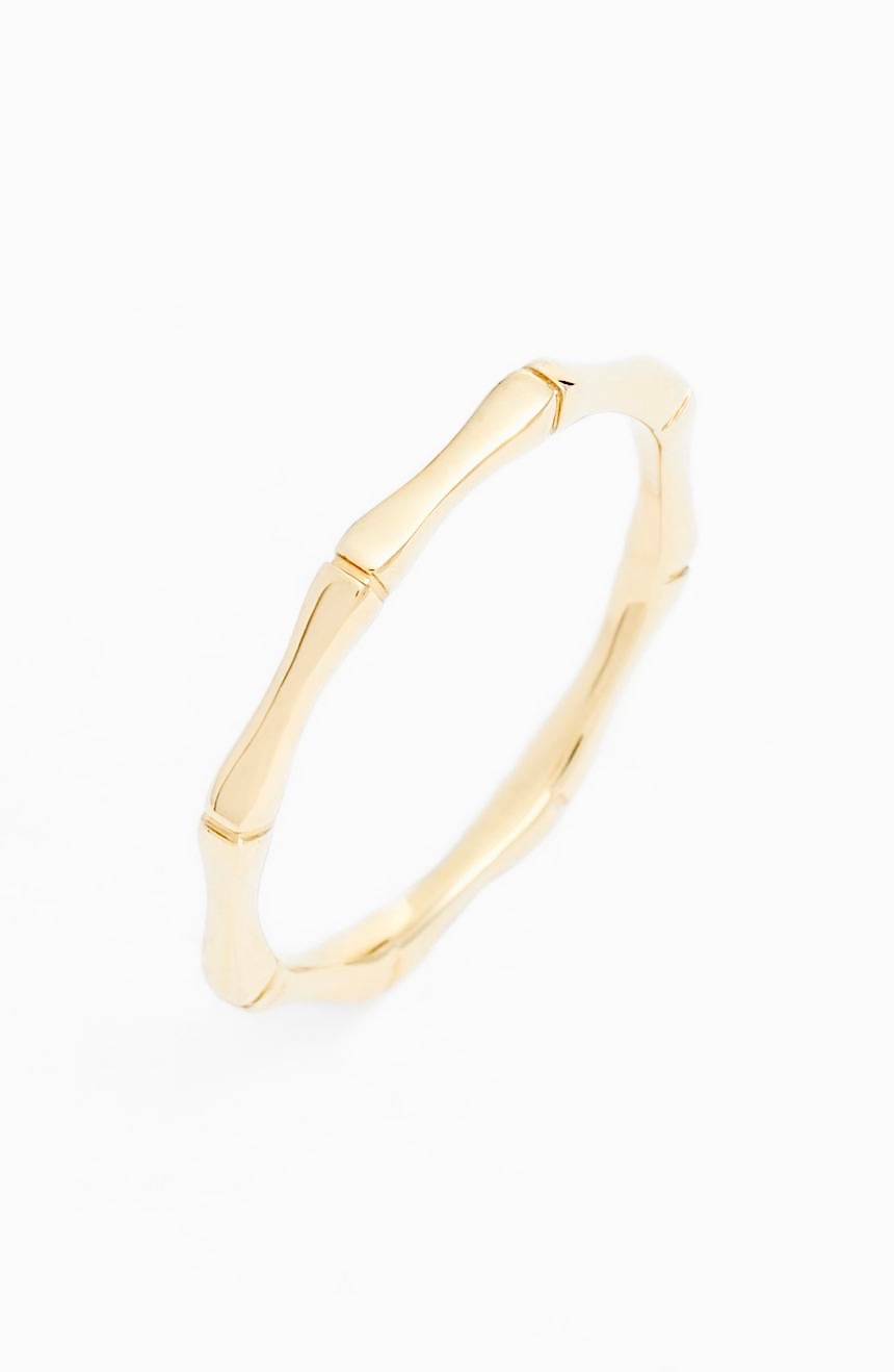 Yellow Gold Bamboo Stacking Ring Minimalist