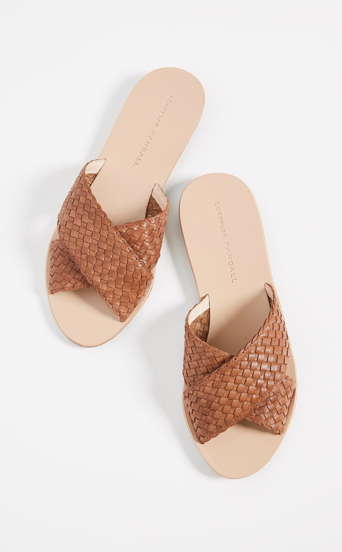 Leather Woven Strap Flat Sandals