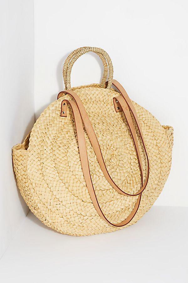 Round Straw Tote with Leather Handles