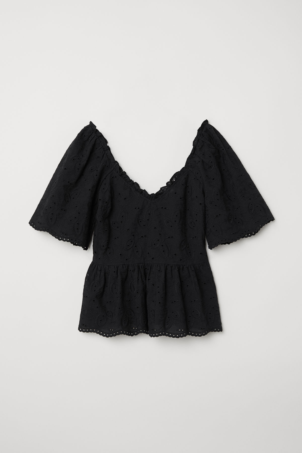 Black Embroidered Eyelet Ruffle Top