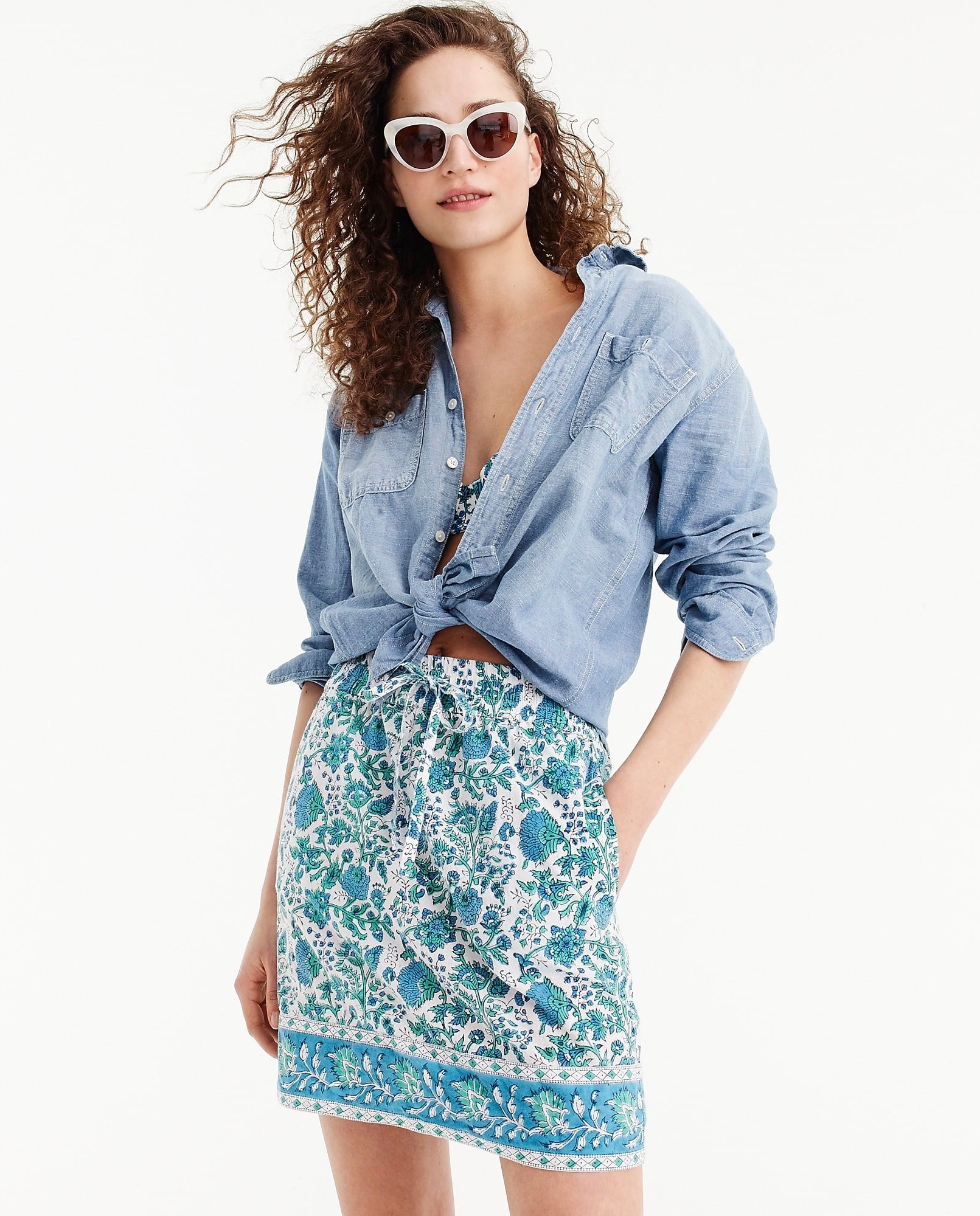 Floral Blockprint Blue Green Skirt Chambray Top White Cat-Eye Sunglasses