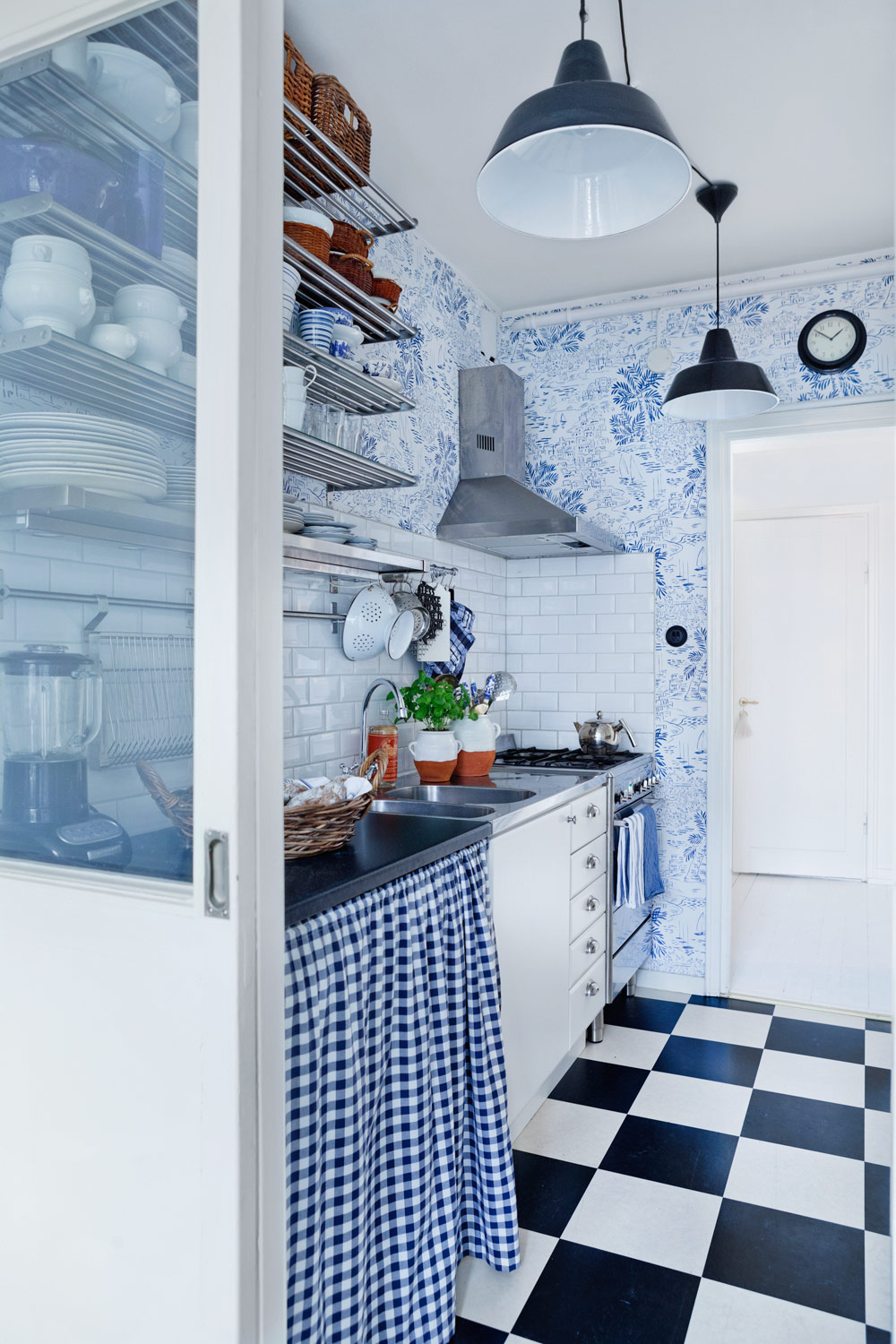 Blue And White Kitchen Wallpaper Gingham Skirt Open Shelving Subway
