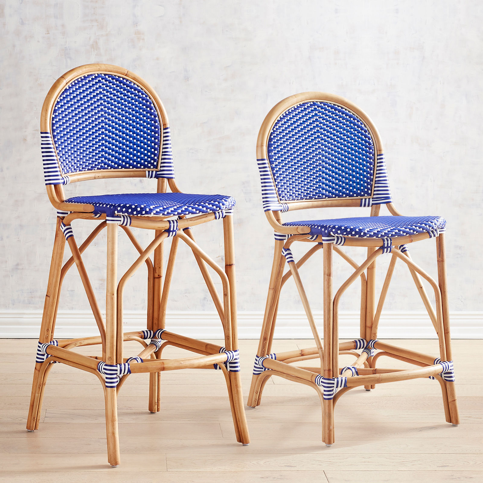 Blue Cafe Counter Bar Stools Woven Rattan Bamboo