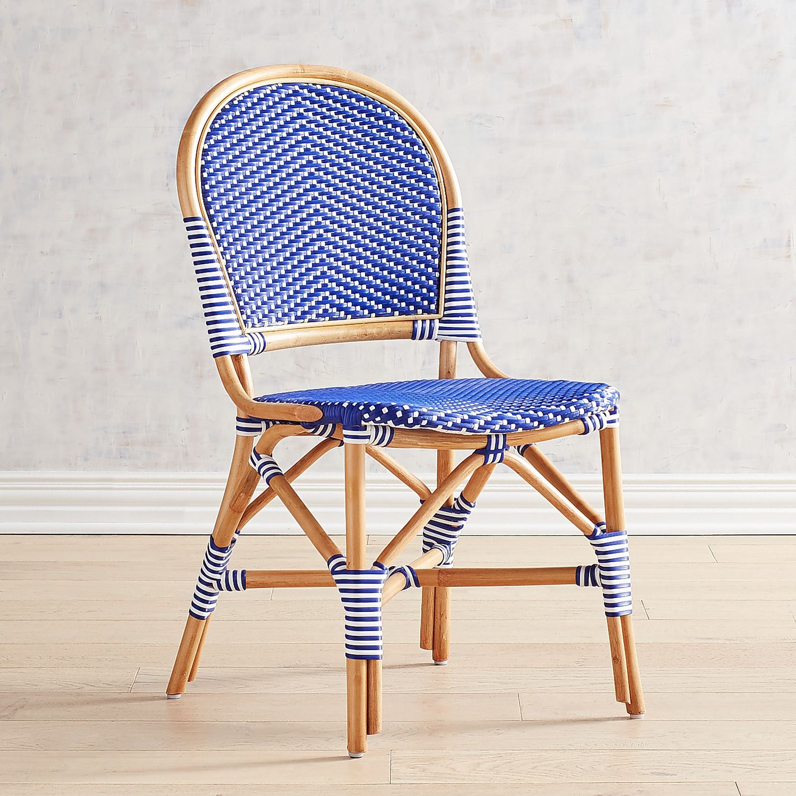 Blue Rattan Cafe Chair Woven Bamboo Style