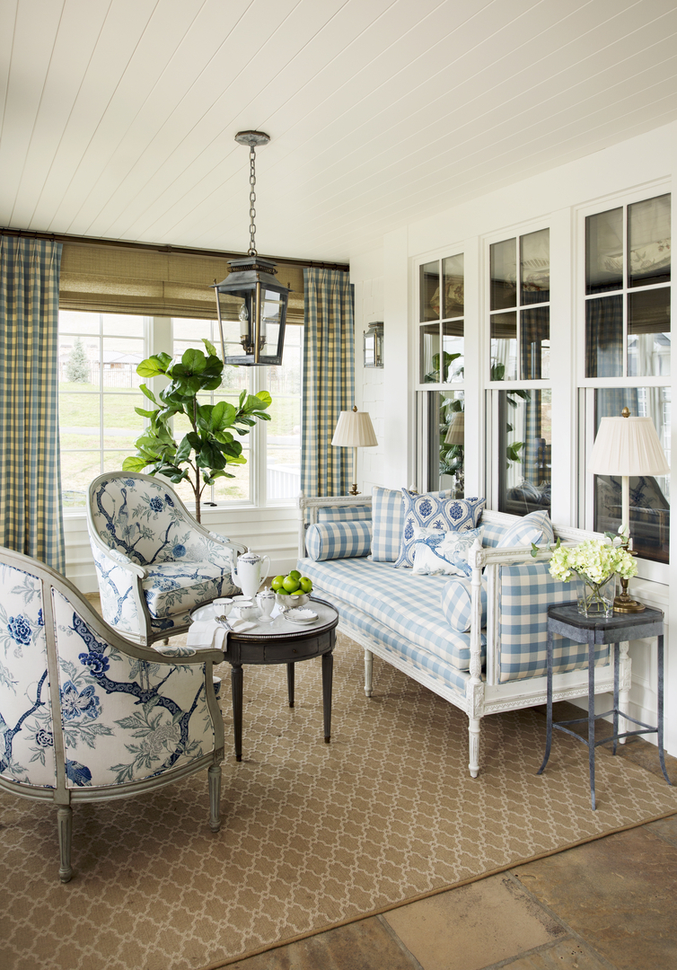 Gingham Settee Curtains Sun Room Lantern