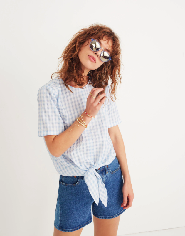 Gingham Button-Back Tie Front Top