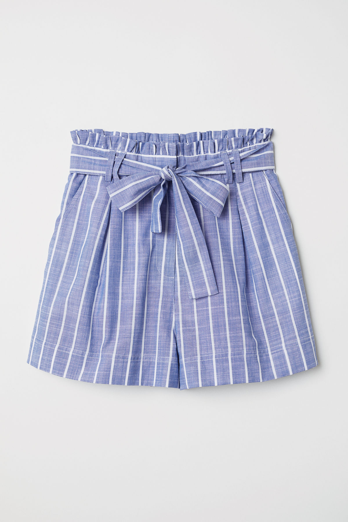 Blue Striped Shorts with Bow