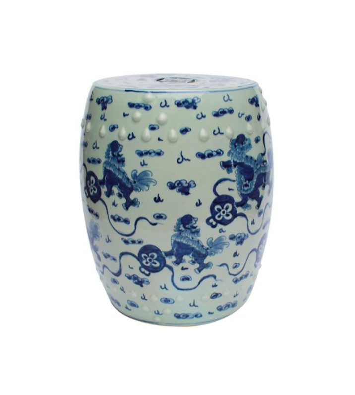 Blue and White Asian Ceramic Garden Stool with Lions