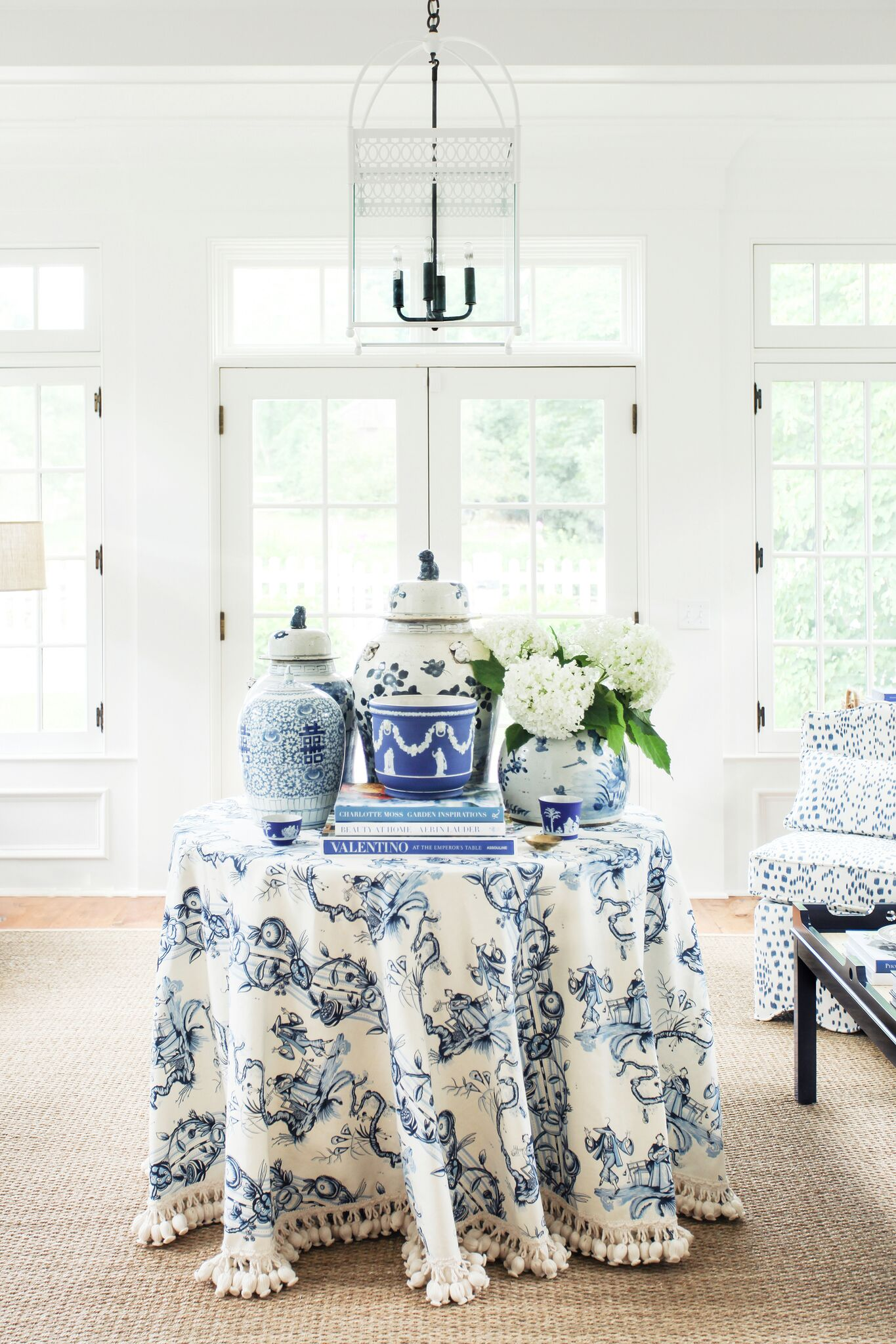 Blue White Floral Round Skirted Table Tassel Trim Chinese Ginger Jars Sisal Rug Sunroom Les Touches