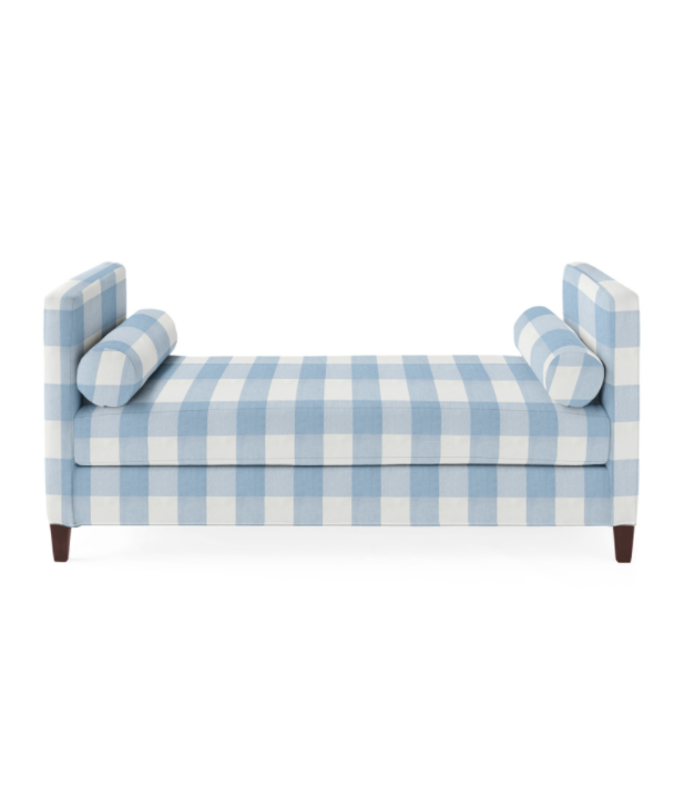 Fine Blue White Gingham Daybed Bench Upholstered Serena Lily Cjindustries Chair Design For Home Cjindustriesco