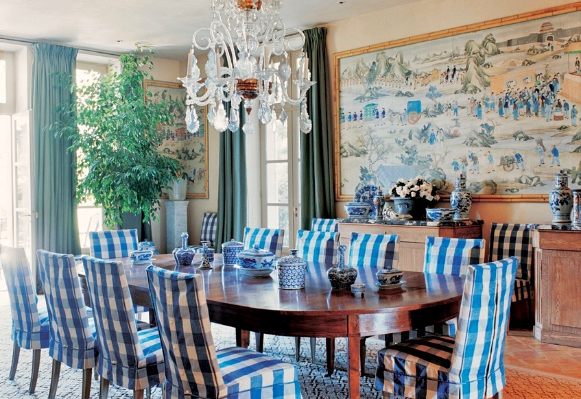 Blue Gingham Slipcovered Dining Chairs Room by Bunny Williams Chandelier
