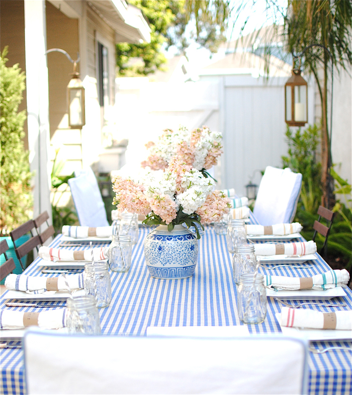 Blue Gingham Tablecloth Outdoor Party Ginger Jar Centerpiece