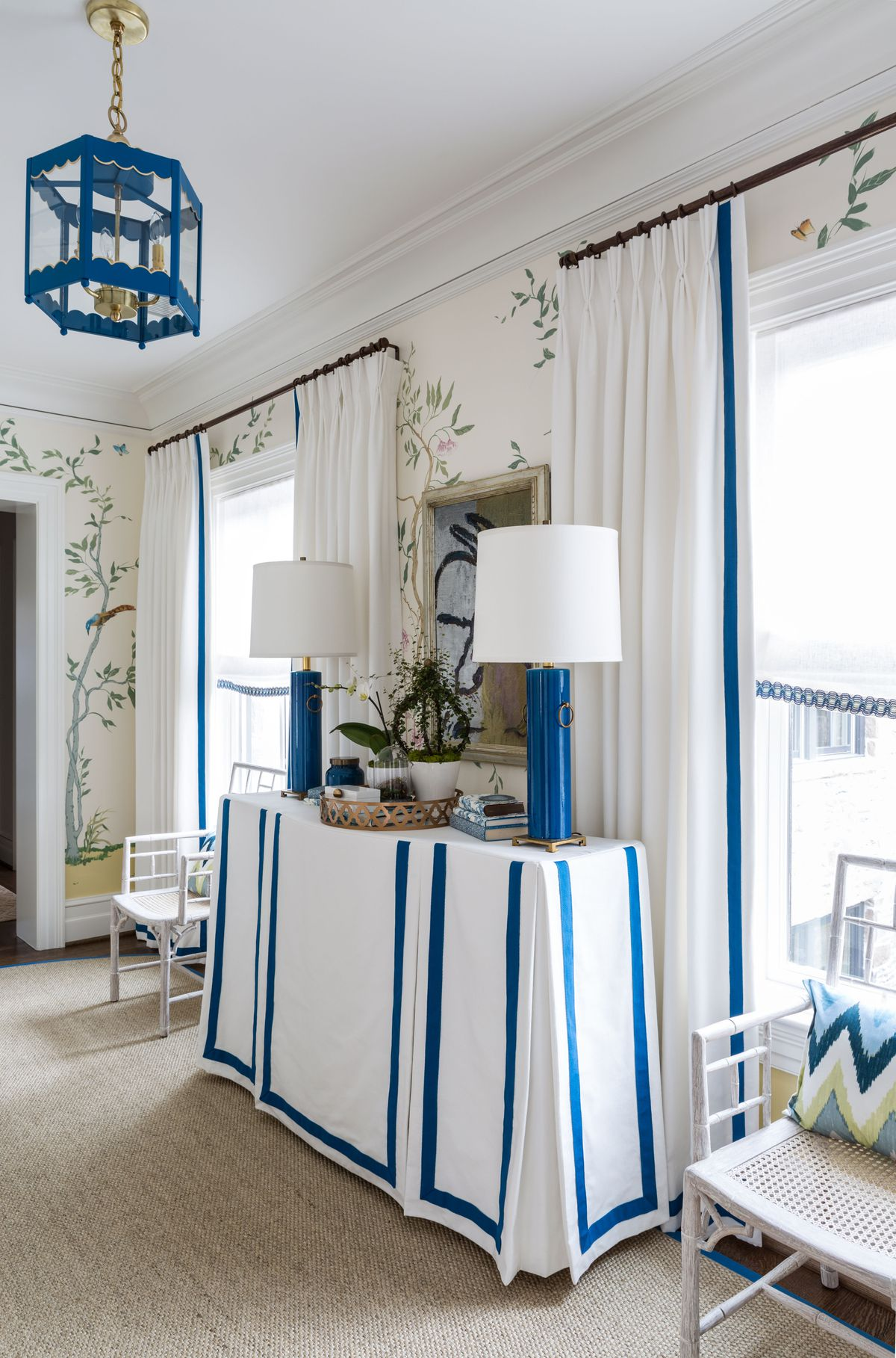 Skirted Table Rectangular Console Blue White Plates Christopher Nutter Scalloped Lantern Sisal Rug Chinoiserie Wallpaper Beige