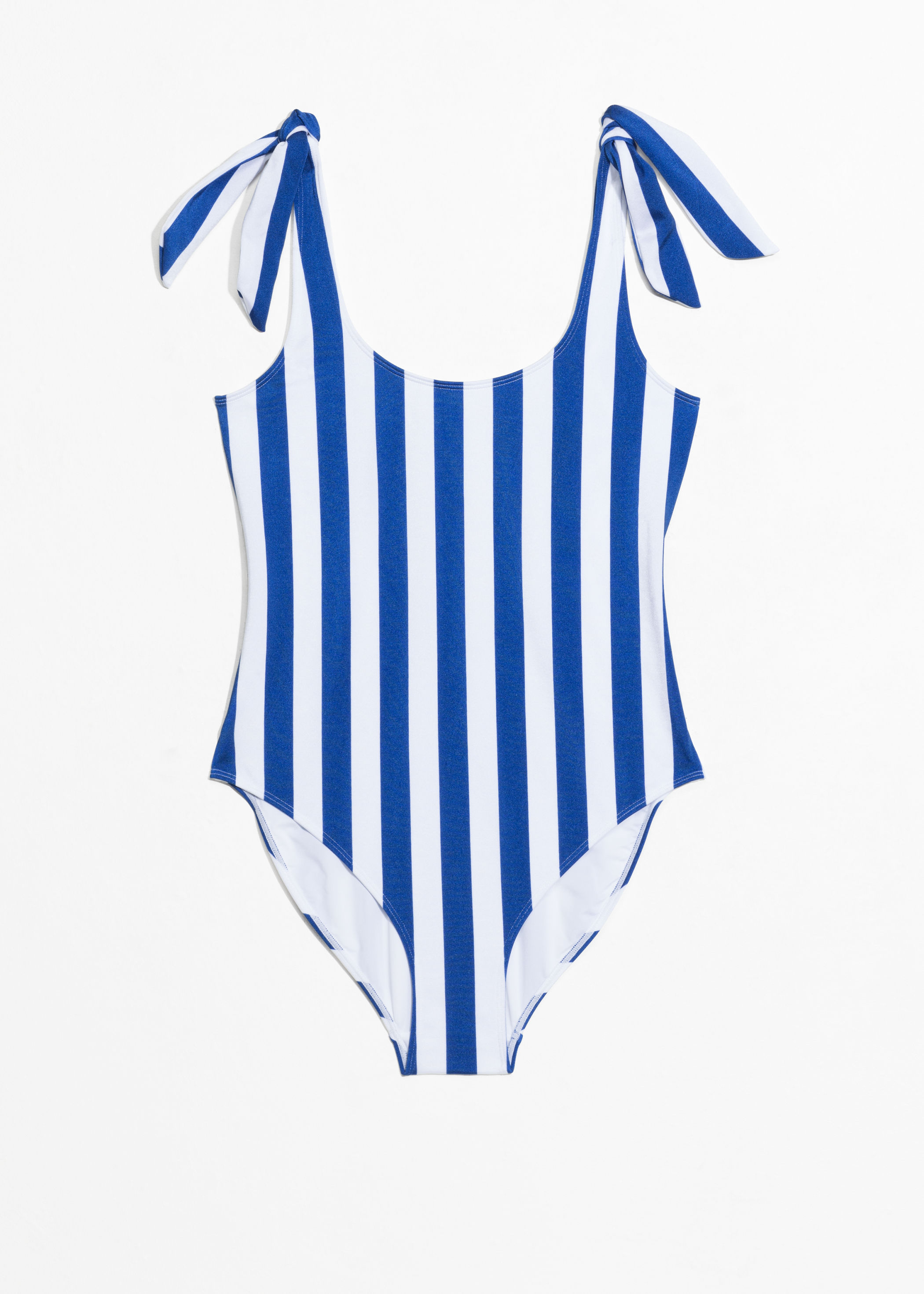 Blue White Stripe One-Piece Swimsuit with Bow Ties