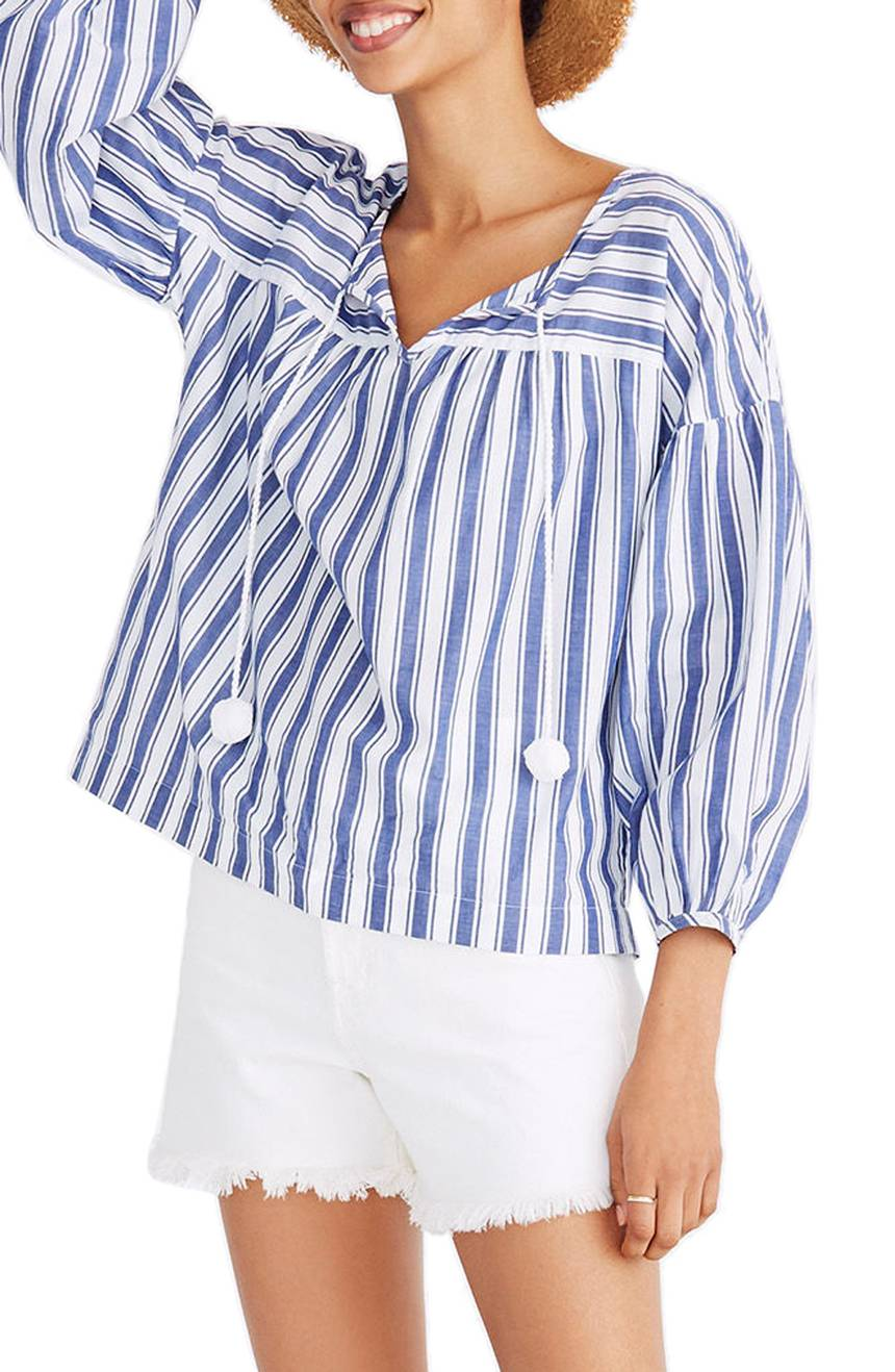 Blue White Stripe Peasant Top Pom Poms