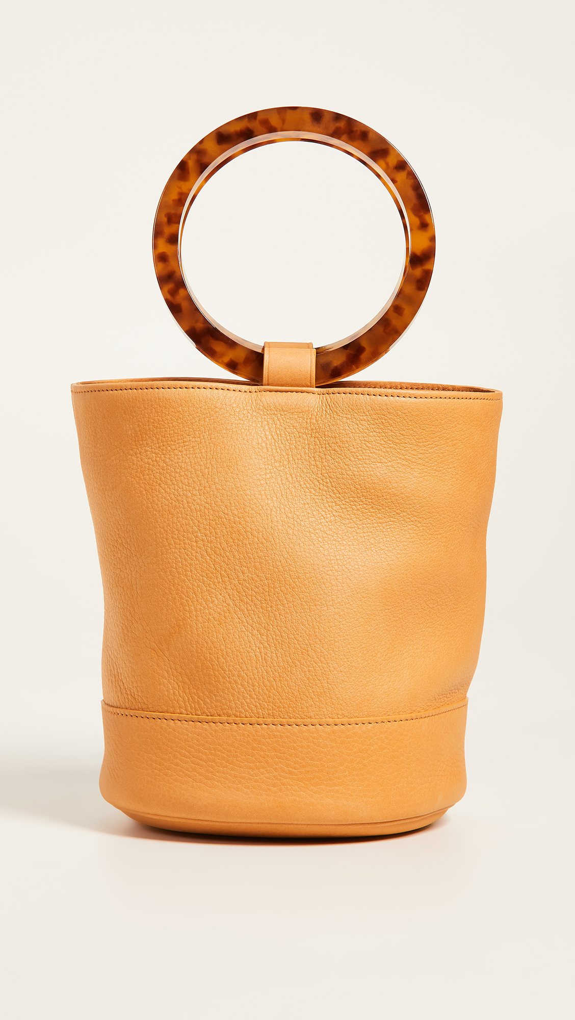 Bonsai Bag with Camel Leather and Round Tortoiseshell Handles