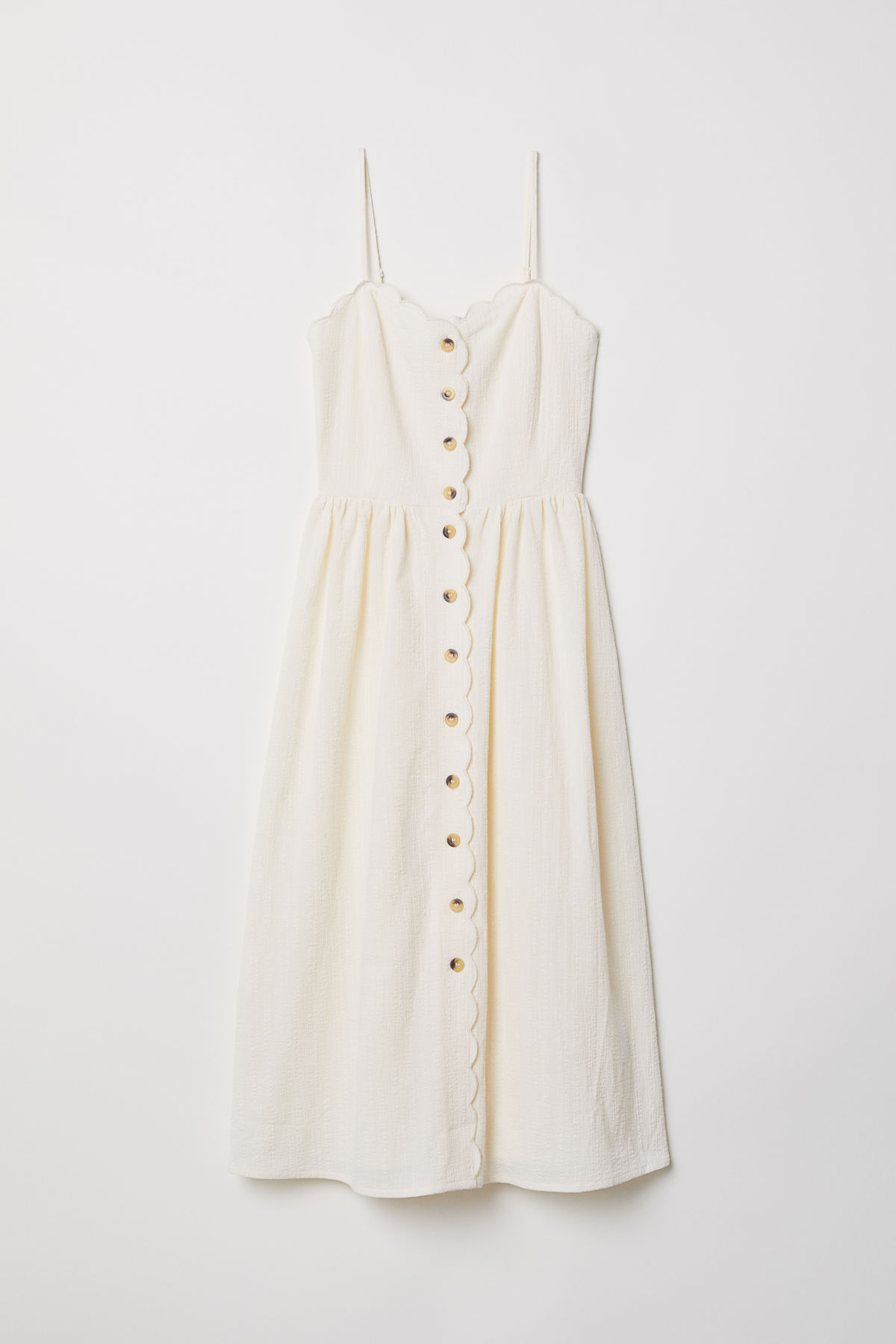 White Scalloped Button-Front Sun Dress