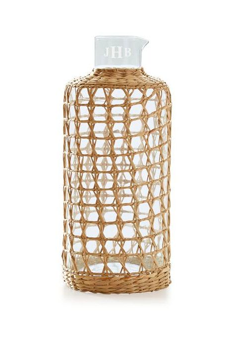 Cane Wicker Carafe Monogrammed Glass