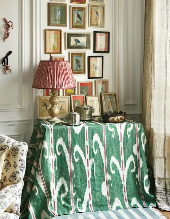 Carolina Irving Paris Apartment Ikat Skirted Table Indian Bird Miniature Paintings Plated Ikat Lampshade