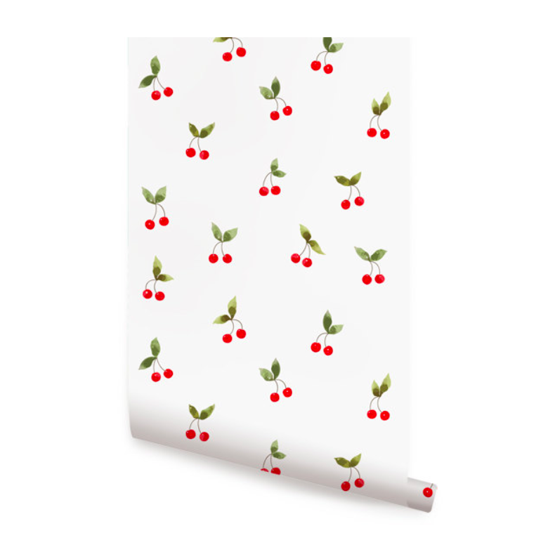 Cherry Print Removable Wallpaper Peel and Stick Cherries Nursery Decor