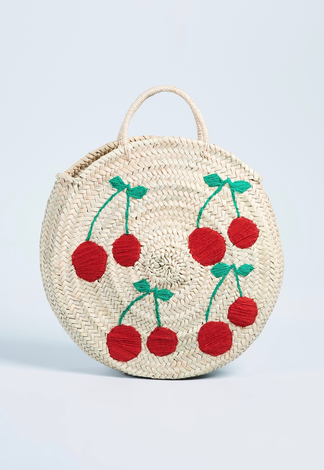 Round Straw Tote Bag with Cherries