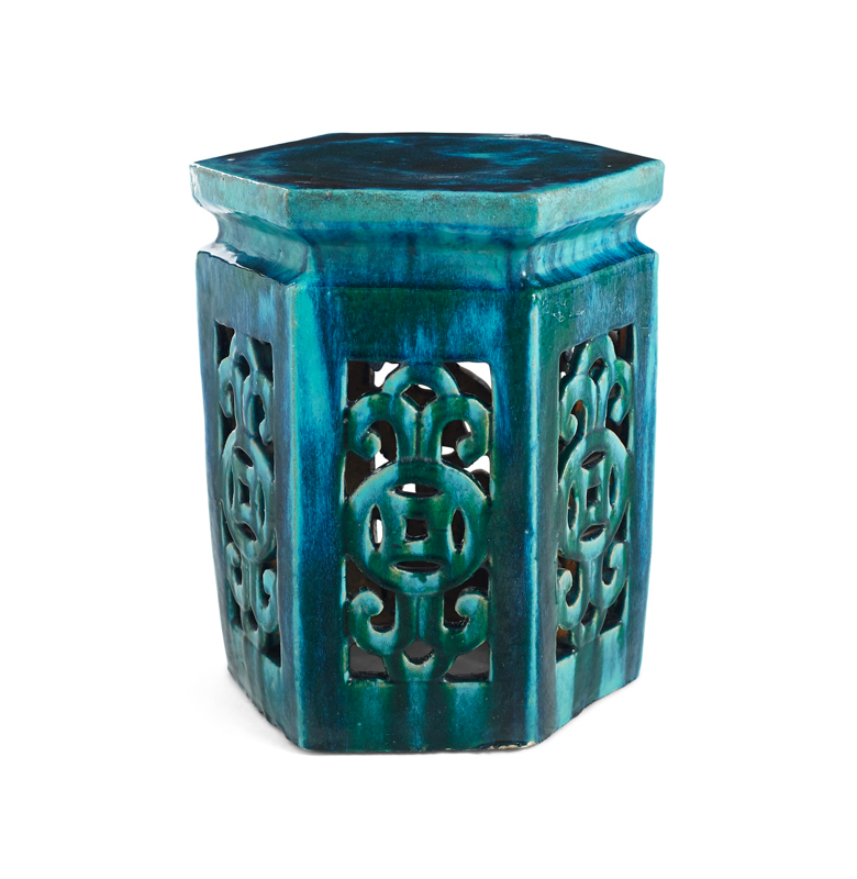 Blue Green Chinese Garden Stool Ceramic Asian
