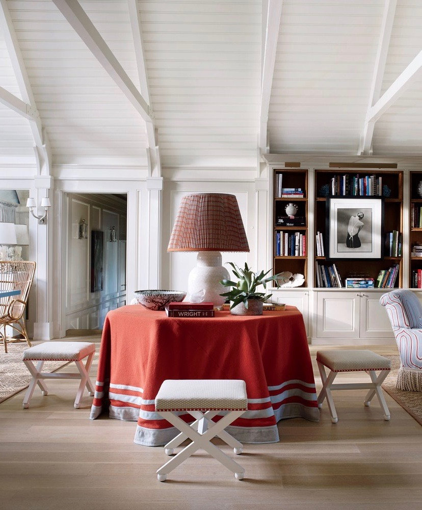 Christopher Burch Hamptons Beach House Red Round Table Skirt Painted White Exposed Ceiling Beams