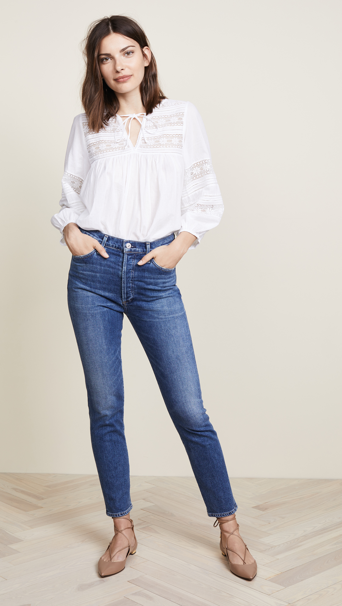 High Rise Ankle Blue Jeans
