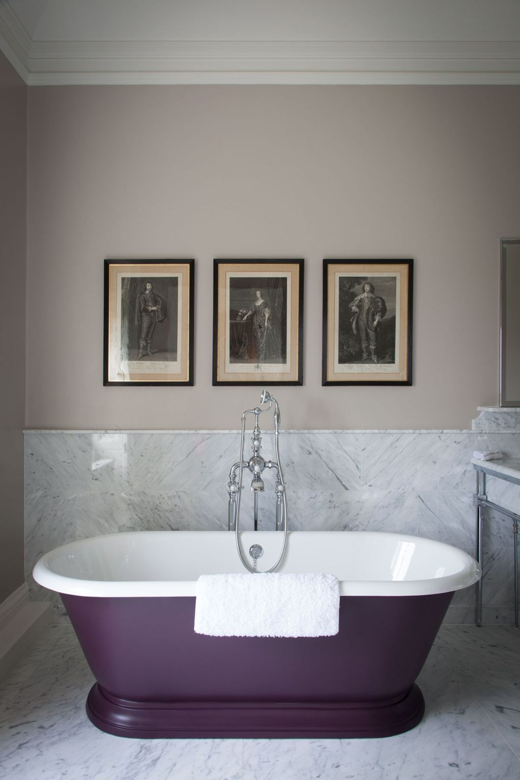 Purple Claw Foot Bathtub Marble Floors Cliveden House Hotel England