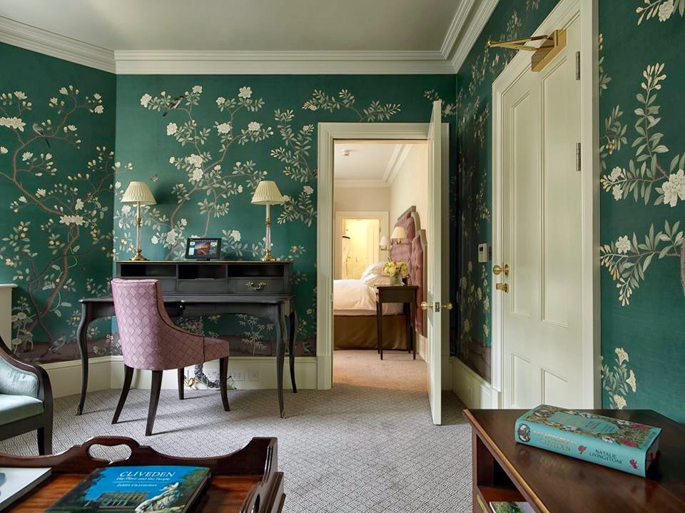 Cliveden House England Hotel Berkshire Green Chinoiserie Wallpaper
