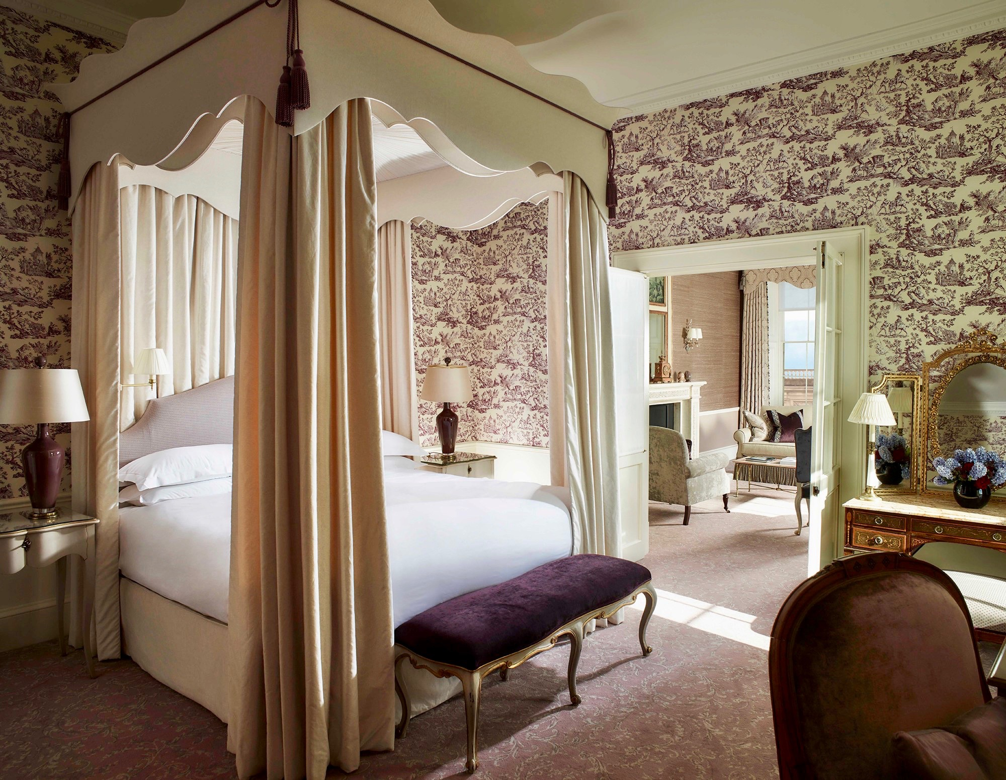 Purple Toile Wallpaper Cliveden House Hotel Suite Canopy Bed