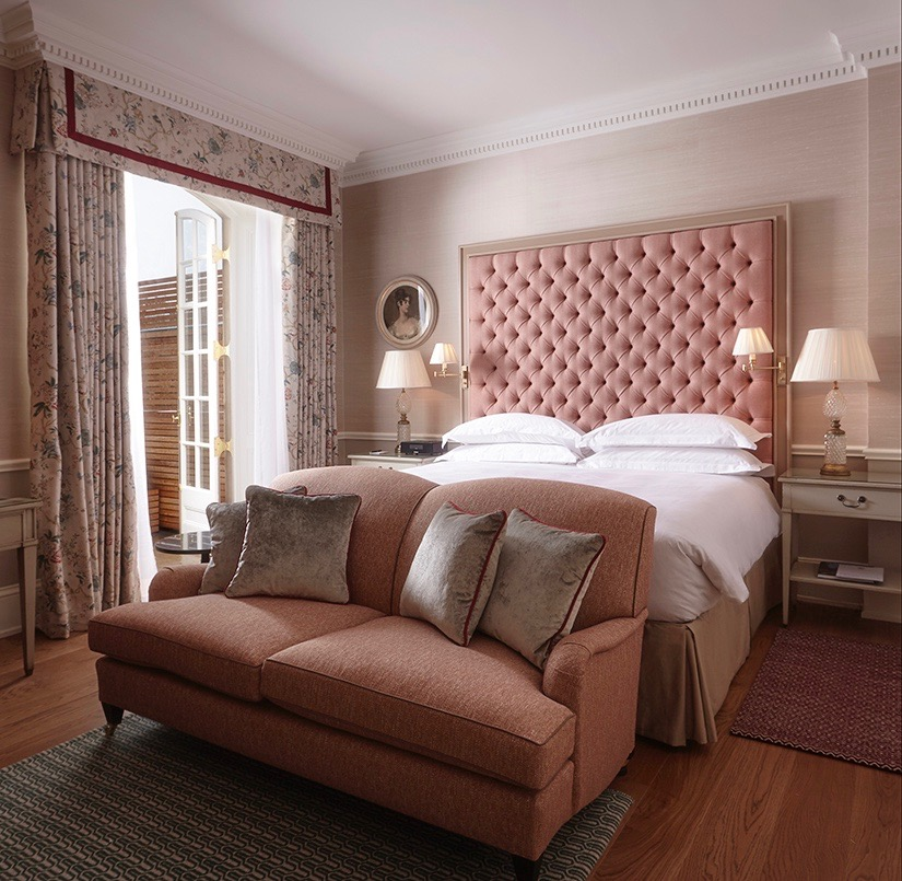 Pink Tufted Upholstered Headboard Cliveden House Hotel Room England