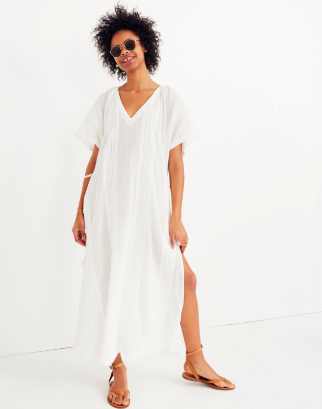 White Cover Up Maxi Dress with Side Tassel Ties