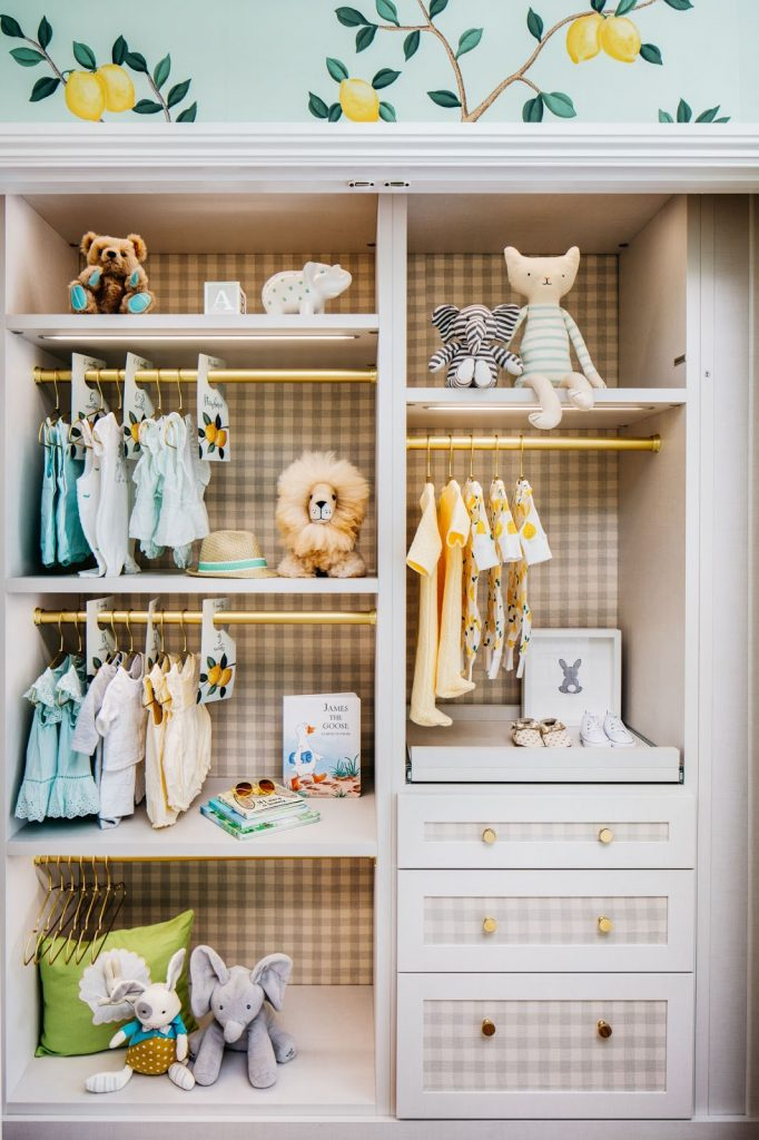 De Gournay Lemon Wallpaper and Gingham Closet in a Nursery by Dina Bandman for the 2018 San Francisco Decorator Showcase