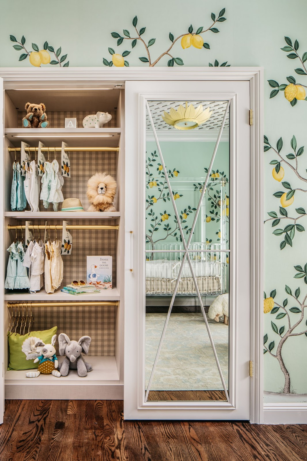 De Gournay Lemon Wallpaper And Gingham Closet In A Nursery By Dina Bandman For The 2018