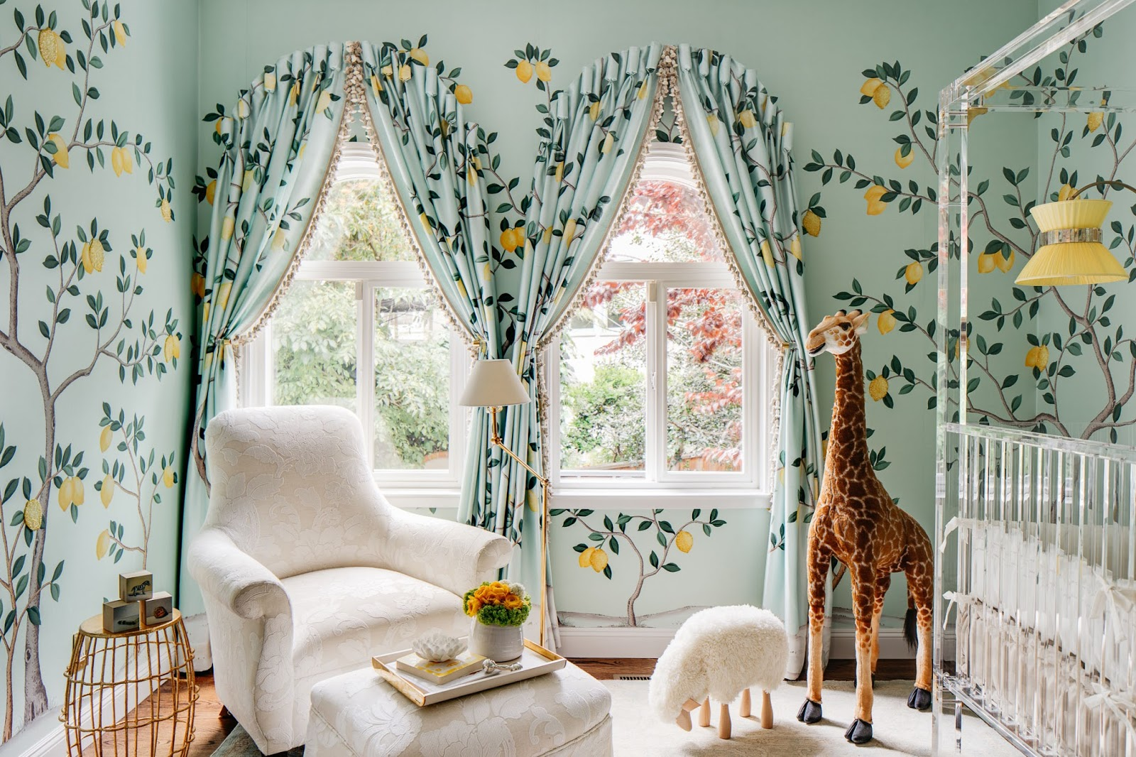 De Gournay Lemon Wallpaper Trellis Ceiling And An Acrylic Crib In A Nursery By