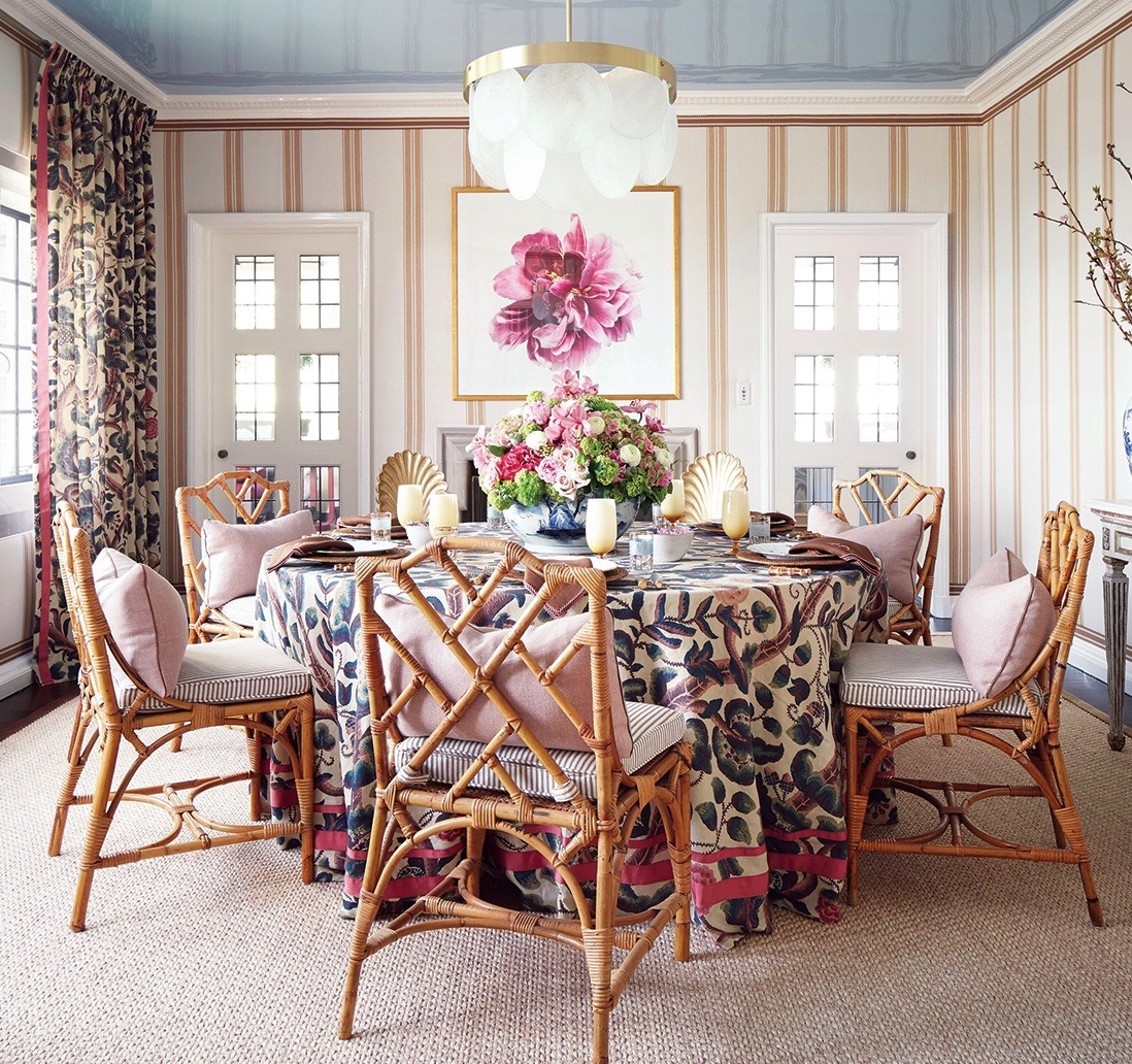 Floral Round Skirted Table Rattan Chippendale Dining Chairs Striped Walls Dining Room Blue Lacquer Ceiling