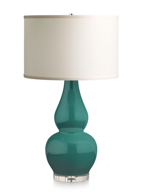 Teal Blue Green Double Gourd Ceramic Table Lamp with Acrylic Base