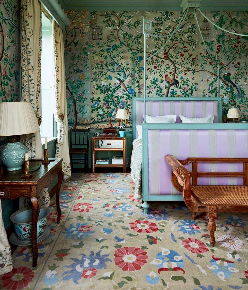 English Country House Bedroom with Chinoiserie Wallpaper and a Canopy Bed
