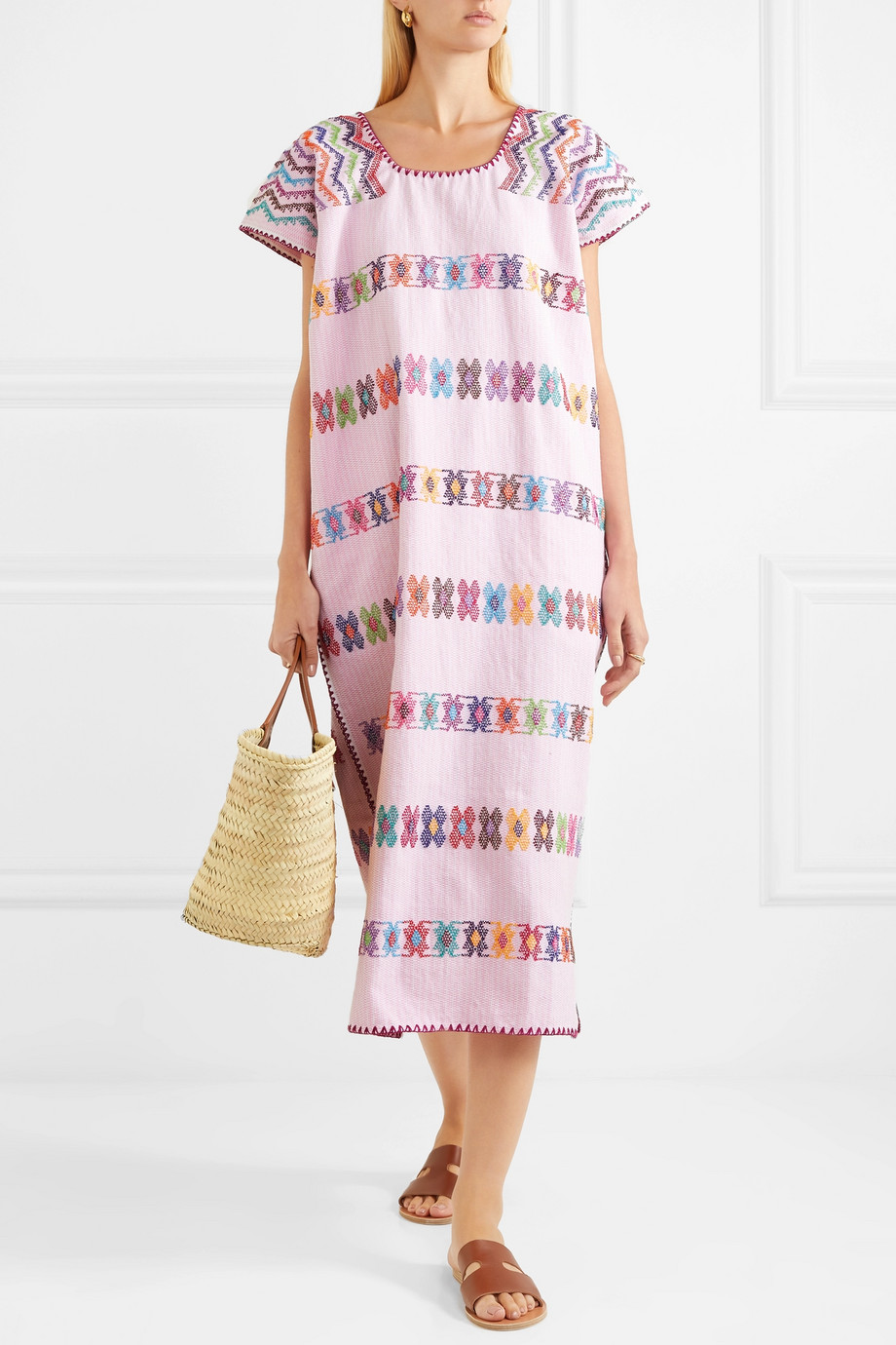 Pippa Holt Pink Embroidered Caftan Mexican Dress