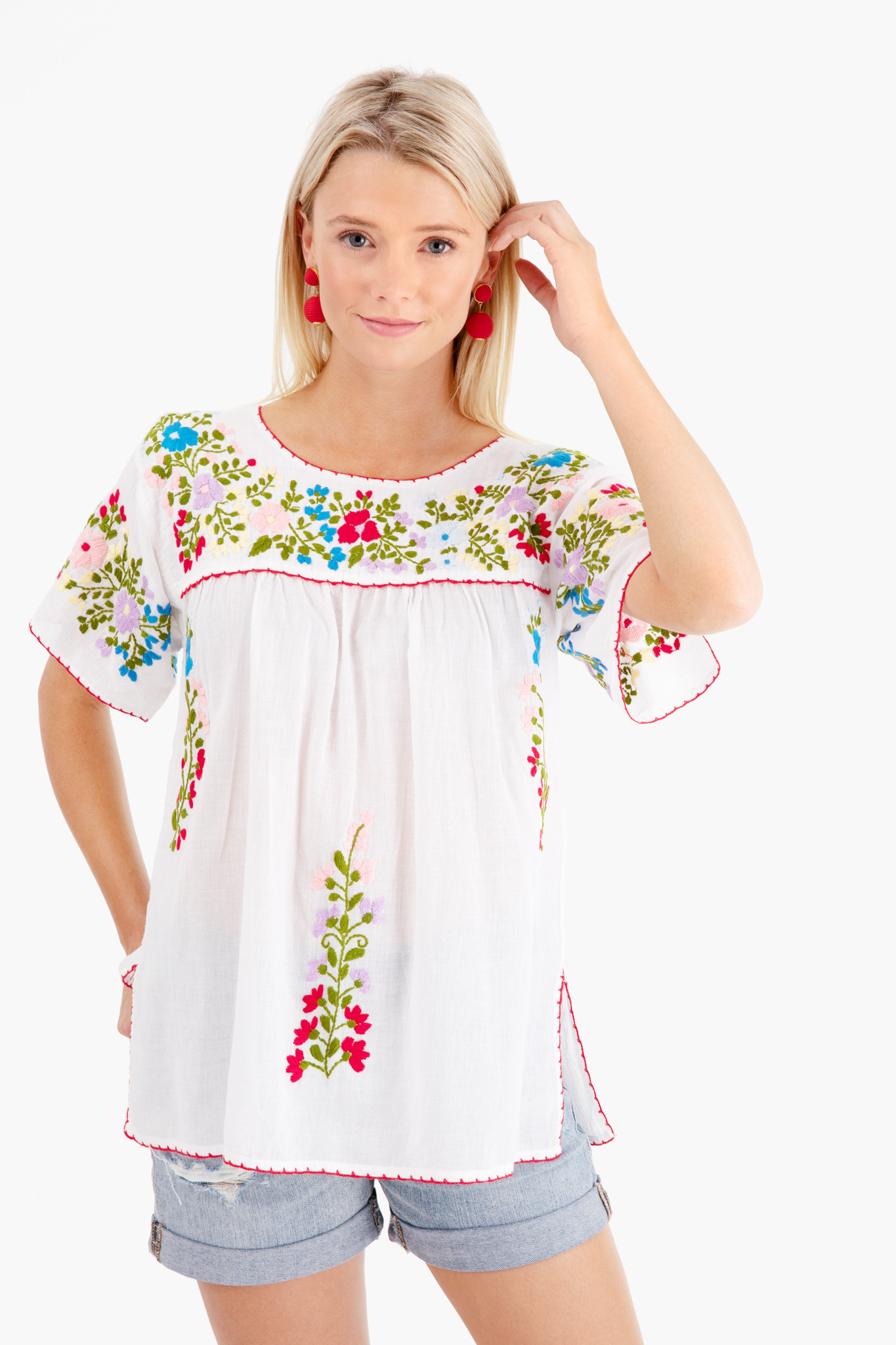 Mexican Floral Embroidered Top White Red Blue Green Women's