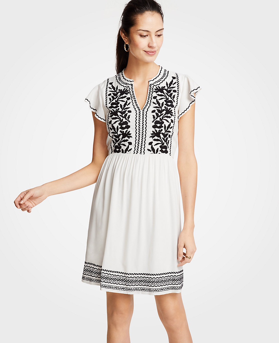 8009924c908 Embroidered Ruffle Sleeve Dress Black White Ann Taylor Katie Considers