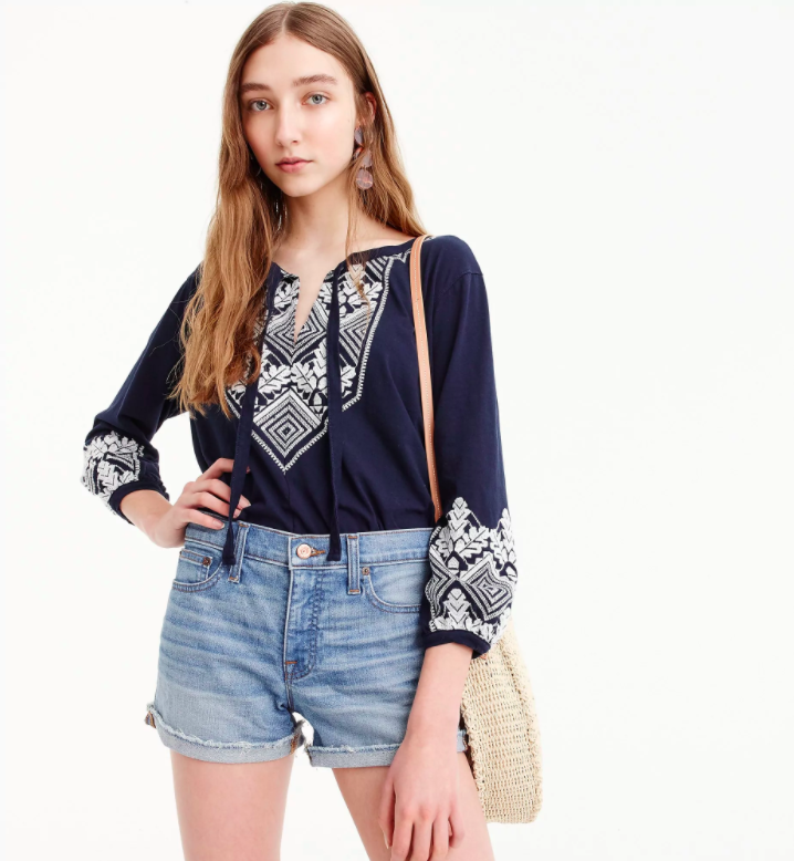 embroidered-tie-neck-top-navy-blue-white-jcrew-womens-peasant-blouse ... 3a98dc0ad6