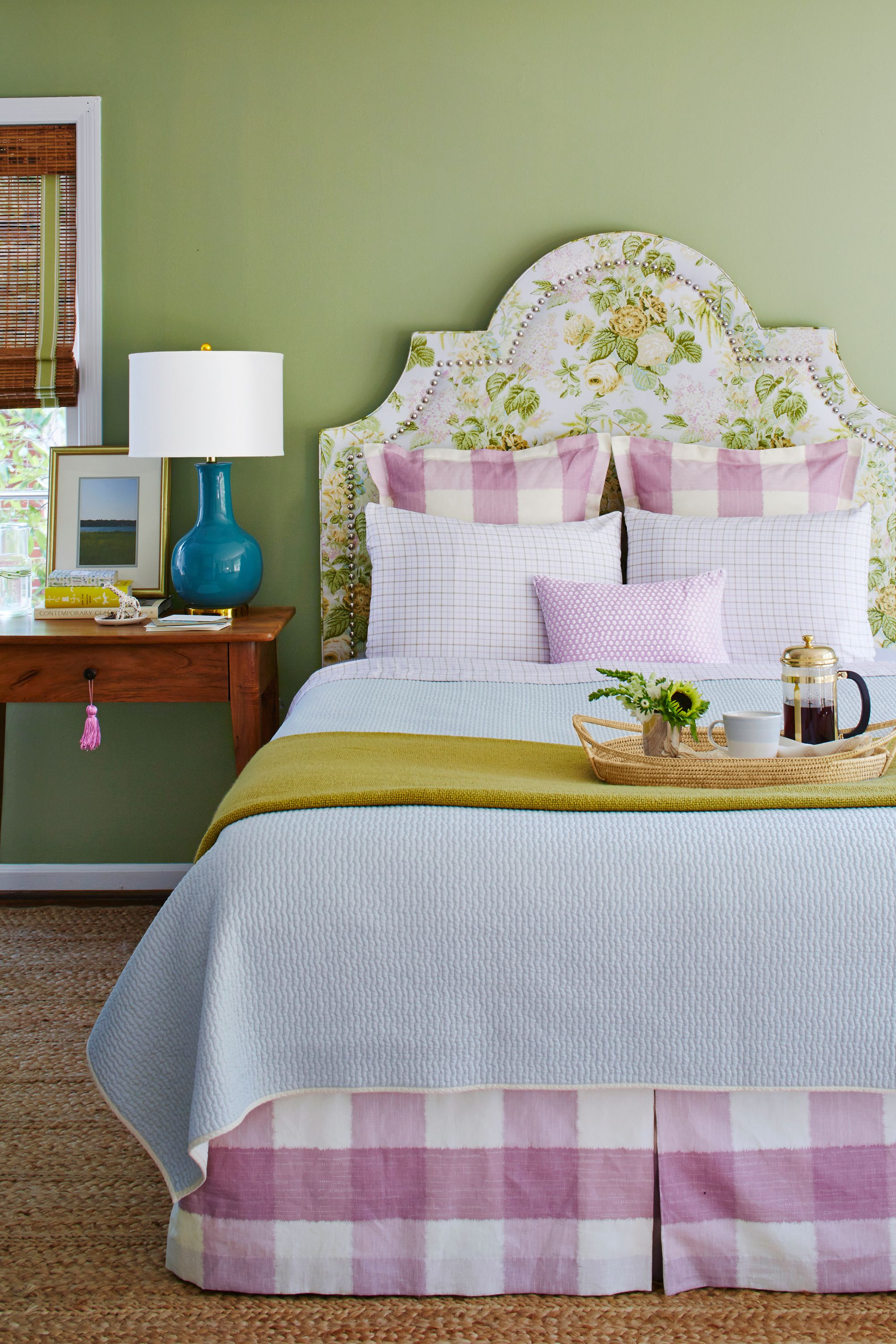 Floral Upholstered Headboard Green Bedroom Walls Gingham Euro Shams Bedskirt