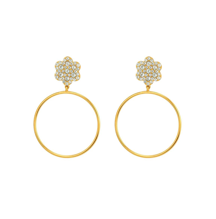 Astrid Hoop Drop Earrings Floral Crystal Yellow Gold
