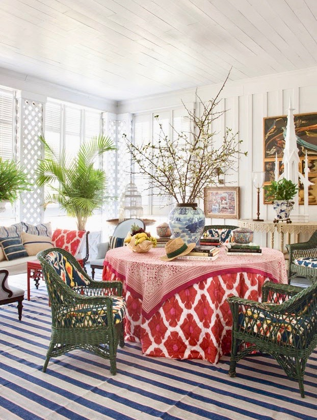 Furlow Gatewood Sunroom Stripe Carpet Skirted Table John Robshaw Textiles Green Wicker Armchairs