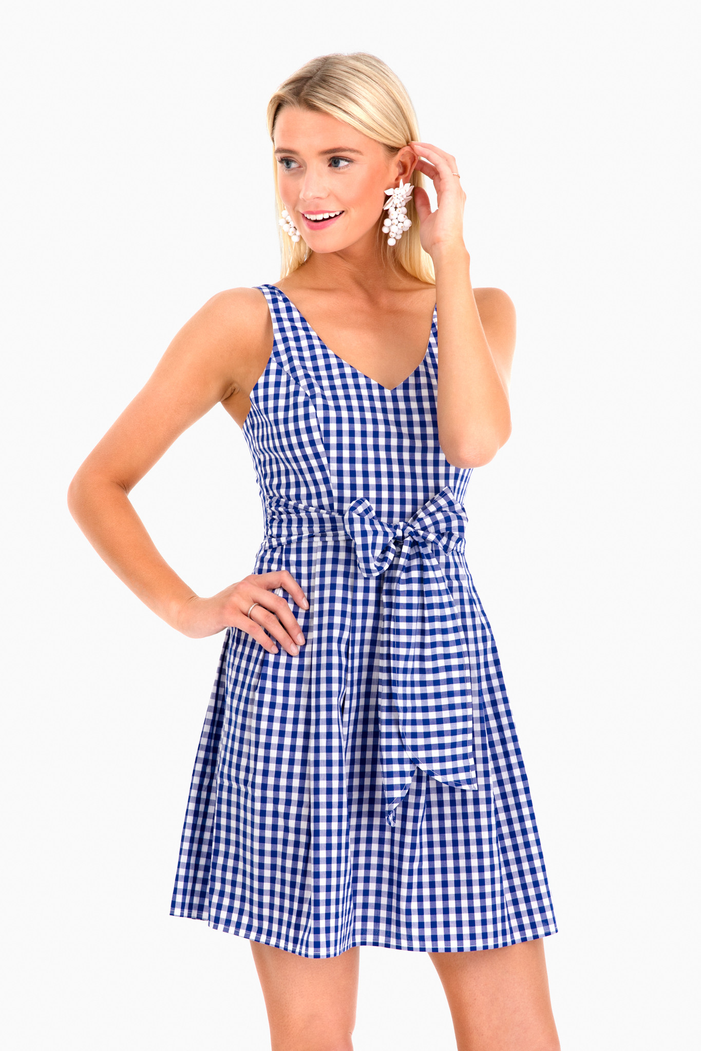 Gingham Bow Waist Dress Blue White A-Line