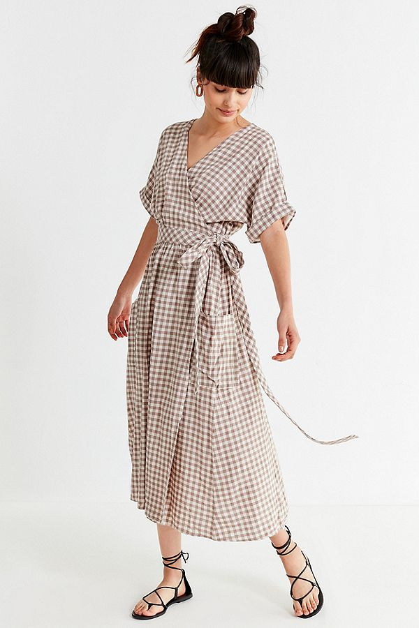 Gingham Linen Midi Wrap Dress