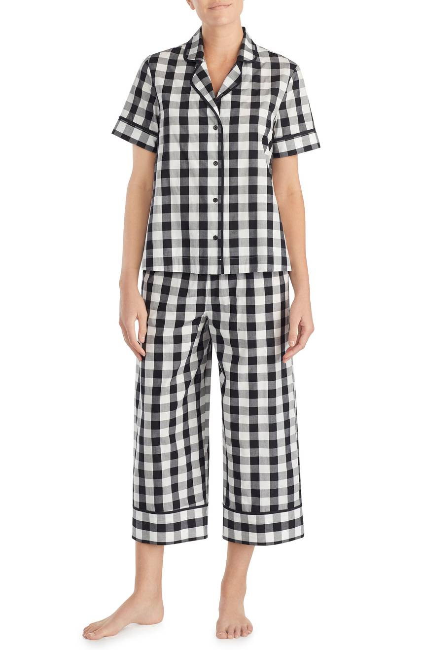 Gingham Black White Short-Sleeve Women's Pajamas