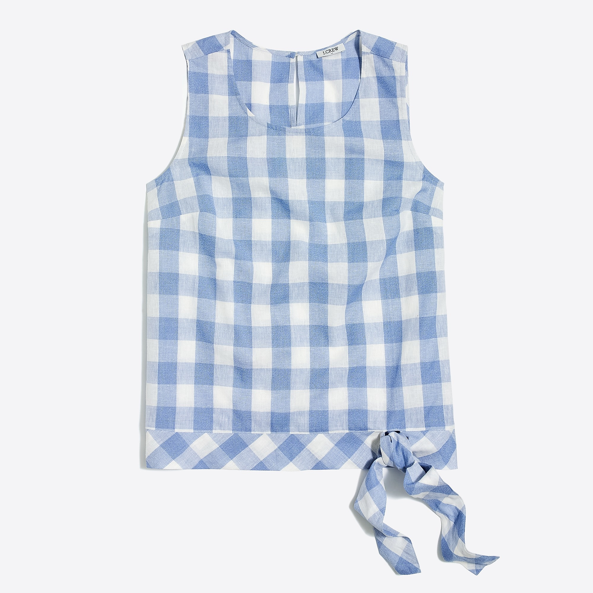 Blue Gingham Tank Top with Bow Tie